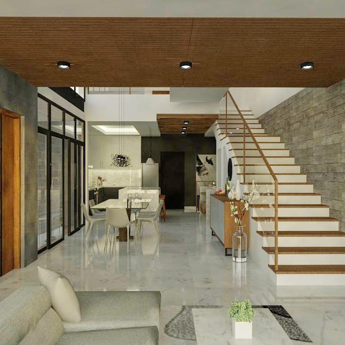 3-Storey Residence in BGC Taguig:  Living room by Structura Architects,
