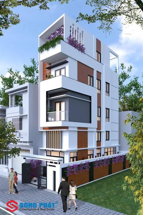 Mặt tiền nhà phố 5 tầng với diện tích thực 4x11,2m bởi Công ty Thiết Kế Xây Dựng Song Phát Hiện đại