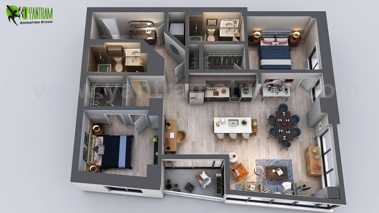 Unique Residential Apartment 3D Floor Plan Rendering Ideas by Yantram 3D Virtual Floor Plan Design, San Diego - USA by Yantram Architectural Design Studio Modern