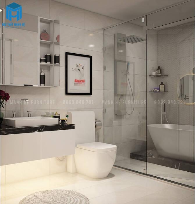 Mẫu phòng tắm hiện đại sang trọng:  Phòng tắm by Công ty TNHH Nội Thất Mạnh Hệ,