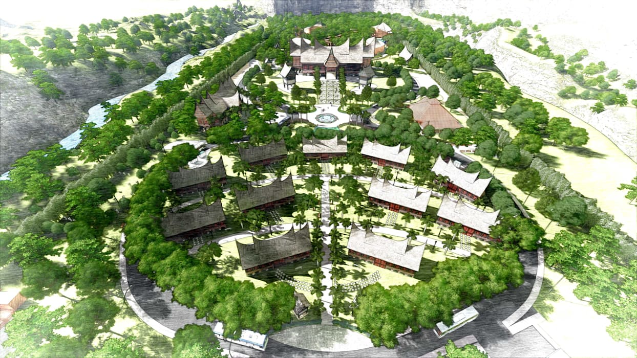 Kawasan Wisata Adat Minangkabau: Ruang Komersial oleh Bengkel Tanaman, Asia