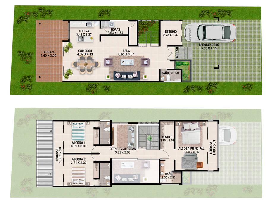 PLANTAS AMBIENTADAS PRIMER Y SEGUNDO PISO.: Conjunto residencial de estilo  por JUAN CASTRO ARQUITECTO