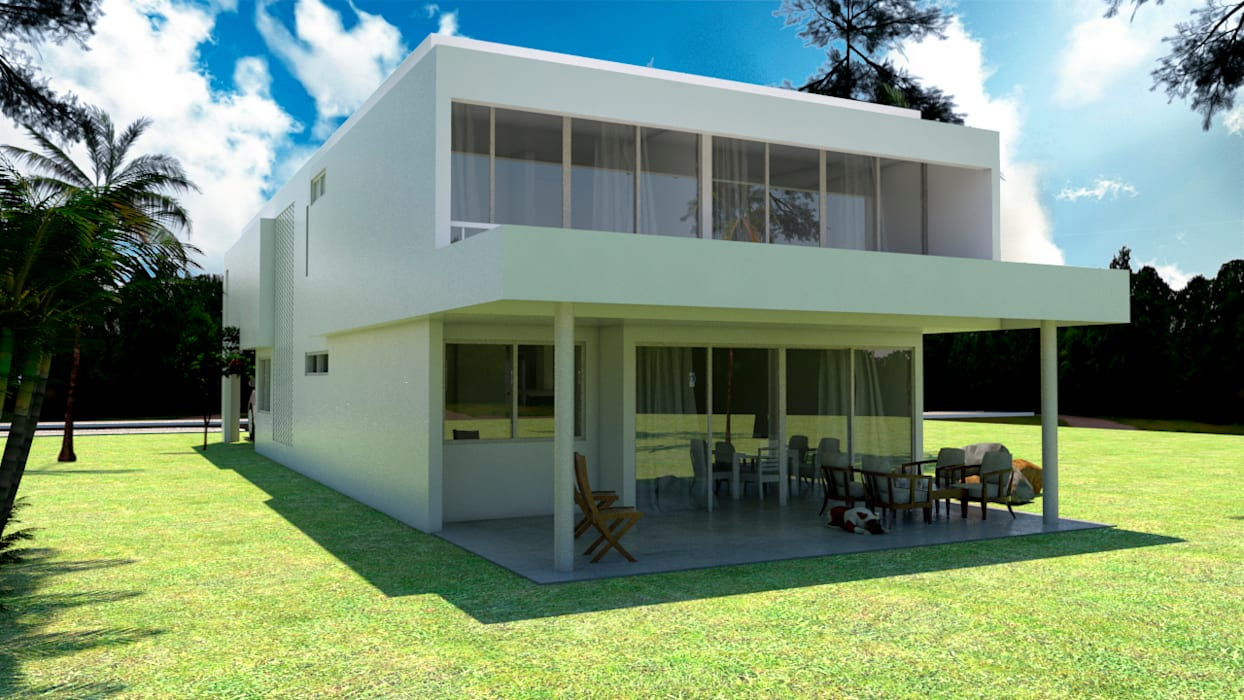 FACHADA POSTERIOR: Casas de estilo moderno por JUAN CASTRO ARQUITECTO