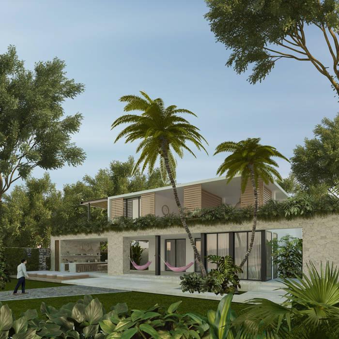 Casa Mara - Bacalar, Quintana Roo. de Obed Clemente Arquitecto Tropical Concreto