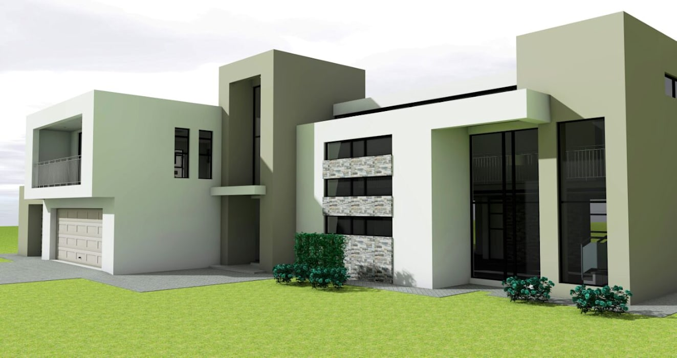 Exterior elevation Modern houses by homify Modern