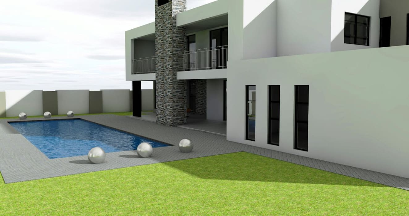 garden and pool area Modern houses by homify Modern