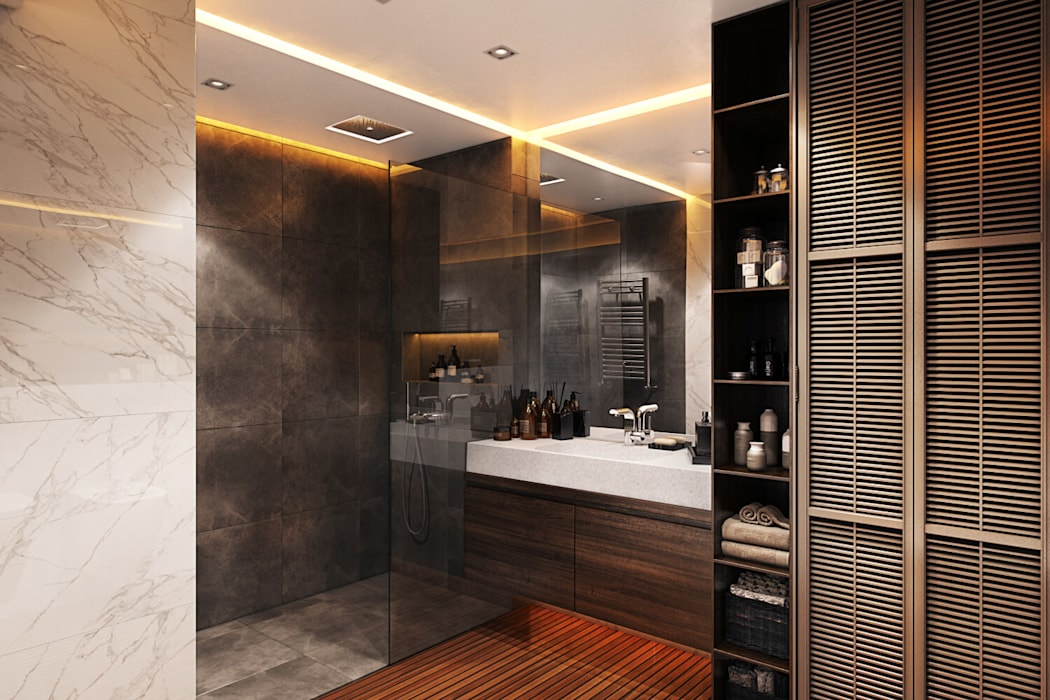 Openspace на Глухарской: Ванные комнаты в . Автор – FISHEYE Architecture & Design