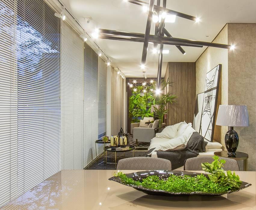 Sala Estar e Jantar Integrada por Sgabello Interiores Moderno Algodão Vermelho