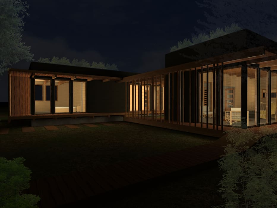 Prefabricated home by Vicente Espinoza M. - Arquitecto , Rustic Wood Wood effect