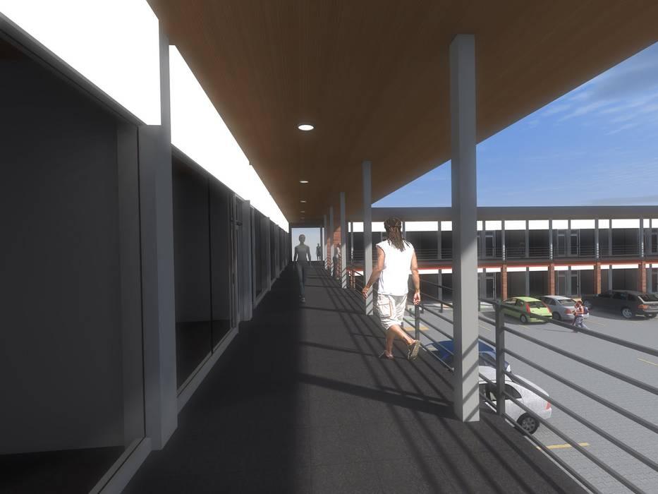 STRIPCENTER MELIPILLA ORIENTE Pasillos, vestíbulos y escaleras modernos de Vicente Espinoza M. - Arquitecto Moderno Concreto reforzado