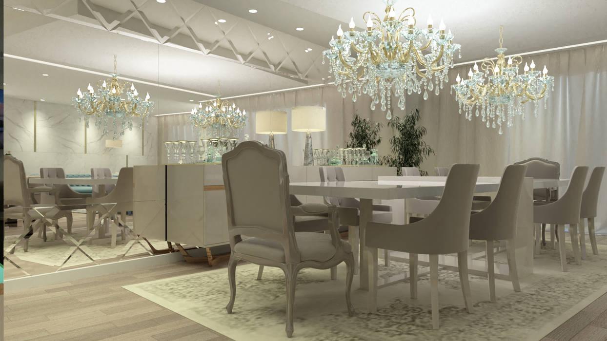 SALA DE JANTAR CONTEMPORÂNEO E ELEGANTE   : Salas de jantar  por Glim - Design de Interiores