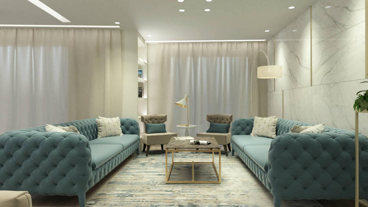 SALA DE ESTAR MODERNA E ELEGANTE : Sala de estar  por Glim - Design de Interiores