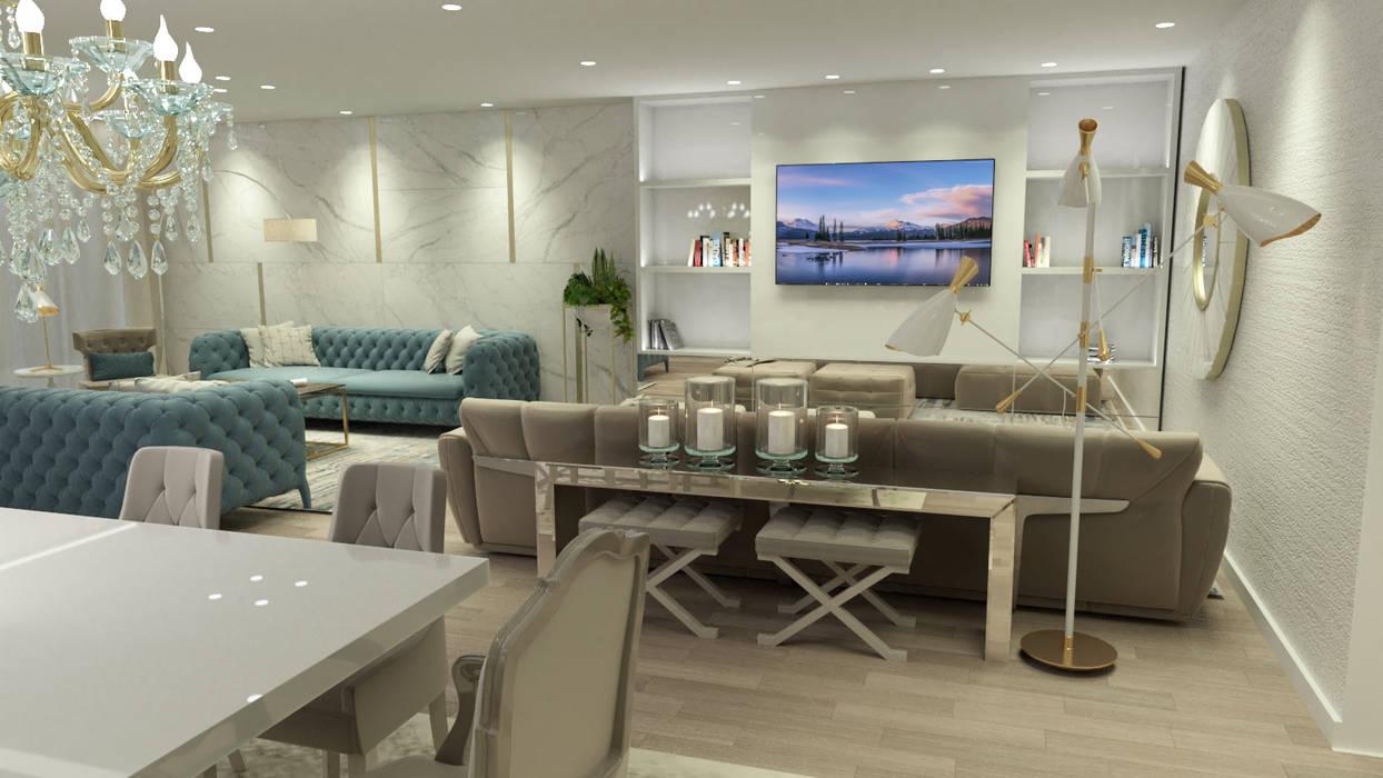 SALA CONTEMPORÂNEO E SOFISTICADA : Salas de estar  por Glim - Design de Interiores