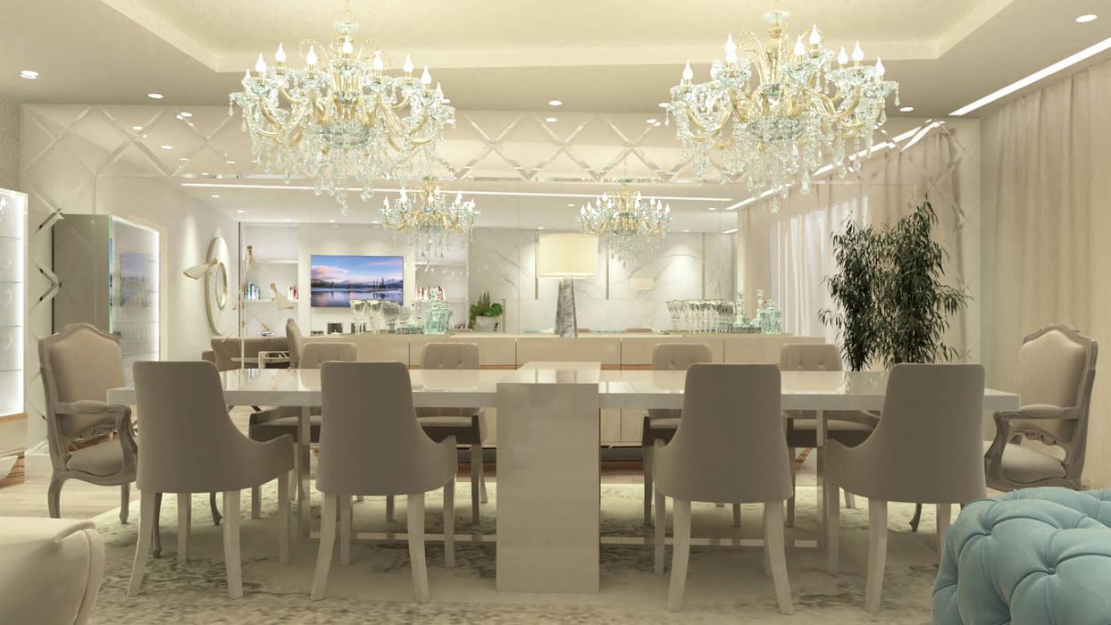 DECORAÇÃO SALA DE JANTAR MODERNA E SOFISTICADA : Salas de jantar  por Glim - Design de Interiores