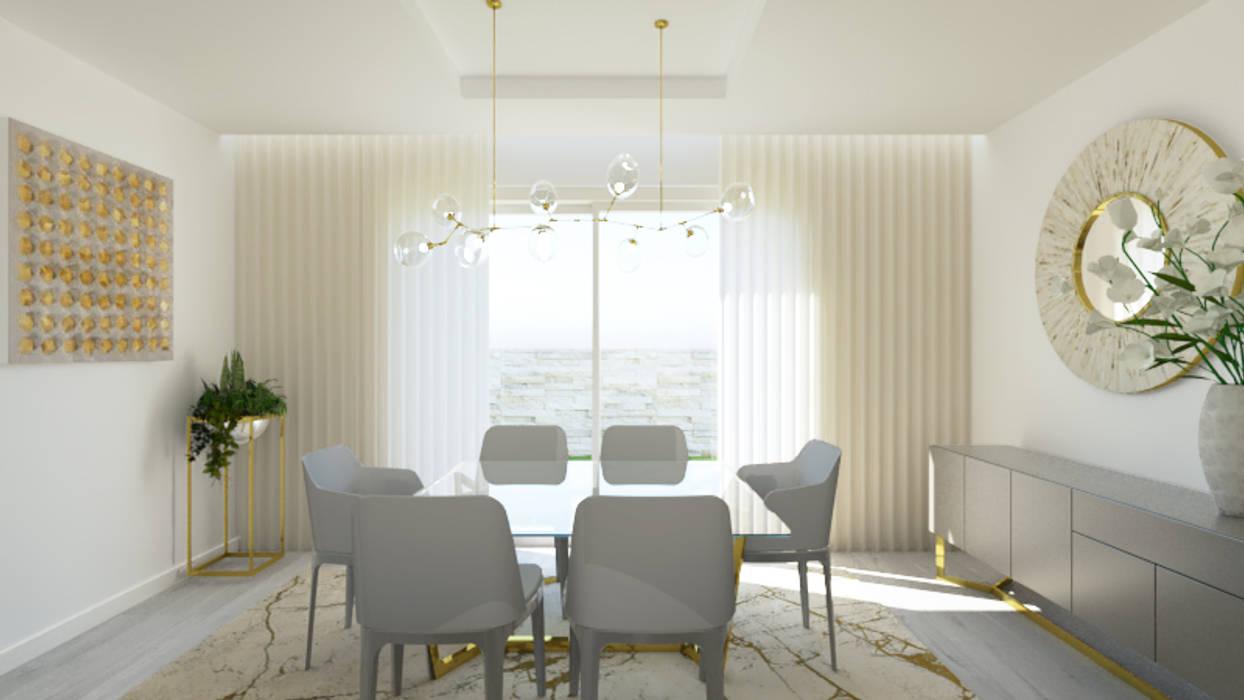 SALA DE  JANTAR SOFISTICADA E MODERNA: Salas de jantar  por Glim - Design de Interiores,Moderno