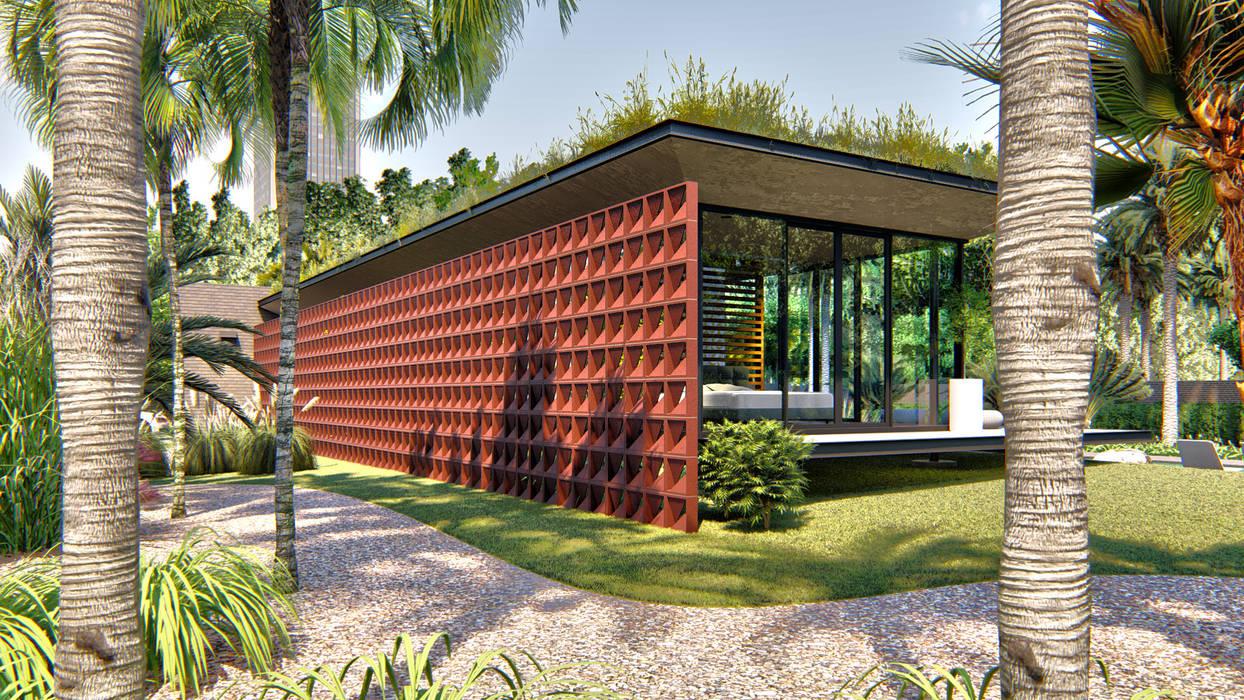 Casa Linear: Casas pré-fabricadas  por IEZ Design,Minimalista