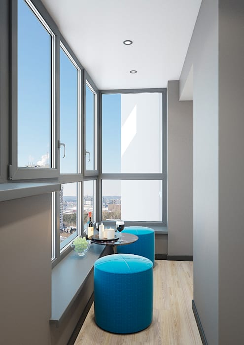 Квартира ЖК Арбатский 87 м2 Балкон и терраса в стиле модерн от Дизайн Студия 33 Модерн