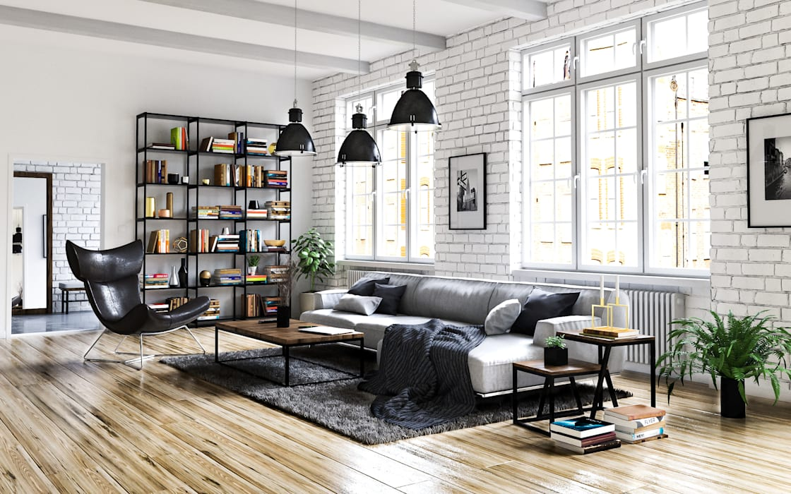Living room by Steven Romsits - 3D Visualisierung, Industrial