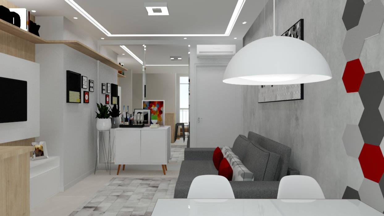 Apartamento Pequeno Salas de estar modernas por Bruna Ferraresi Moderno MDF