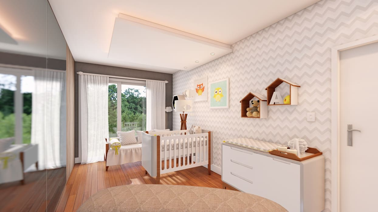 Quarto de Bebê Studio MP Interiores Quartos de bebê MDF Cinza