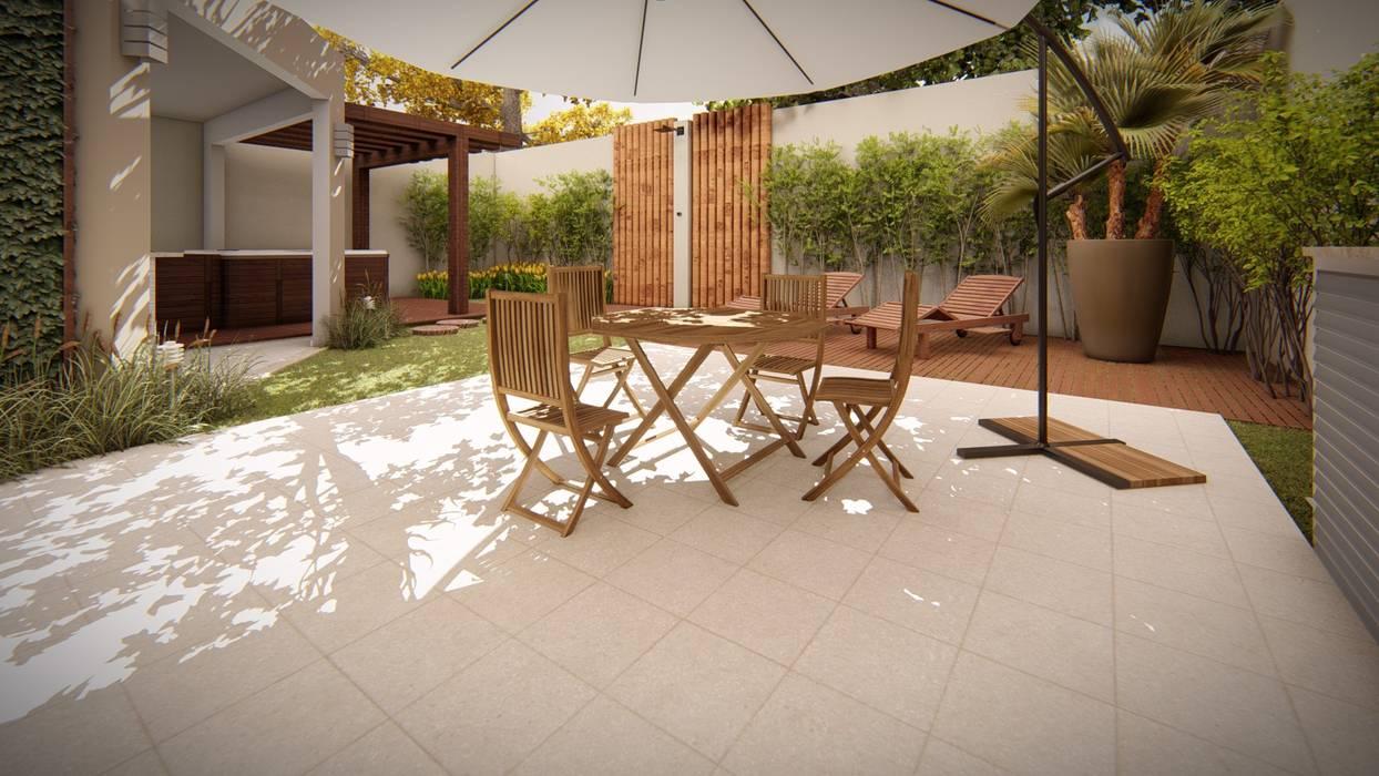 Área externa por Studio MP Interiores Moderno Madeira Efeito de madeira
