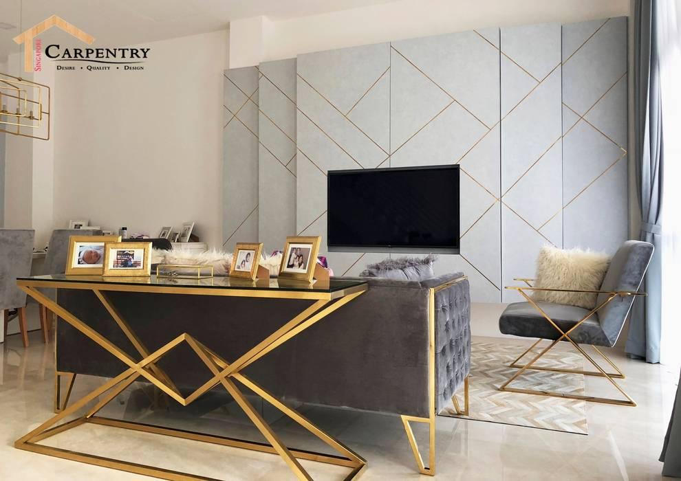 Mid Century Modern Style at Jalan Usaha:  Living room by Singapore Carpentry Interior Design Pte Ltd