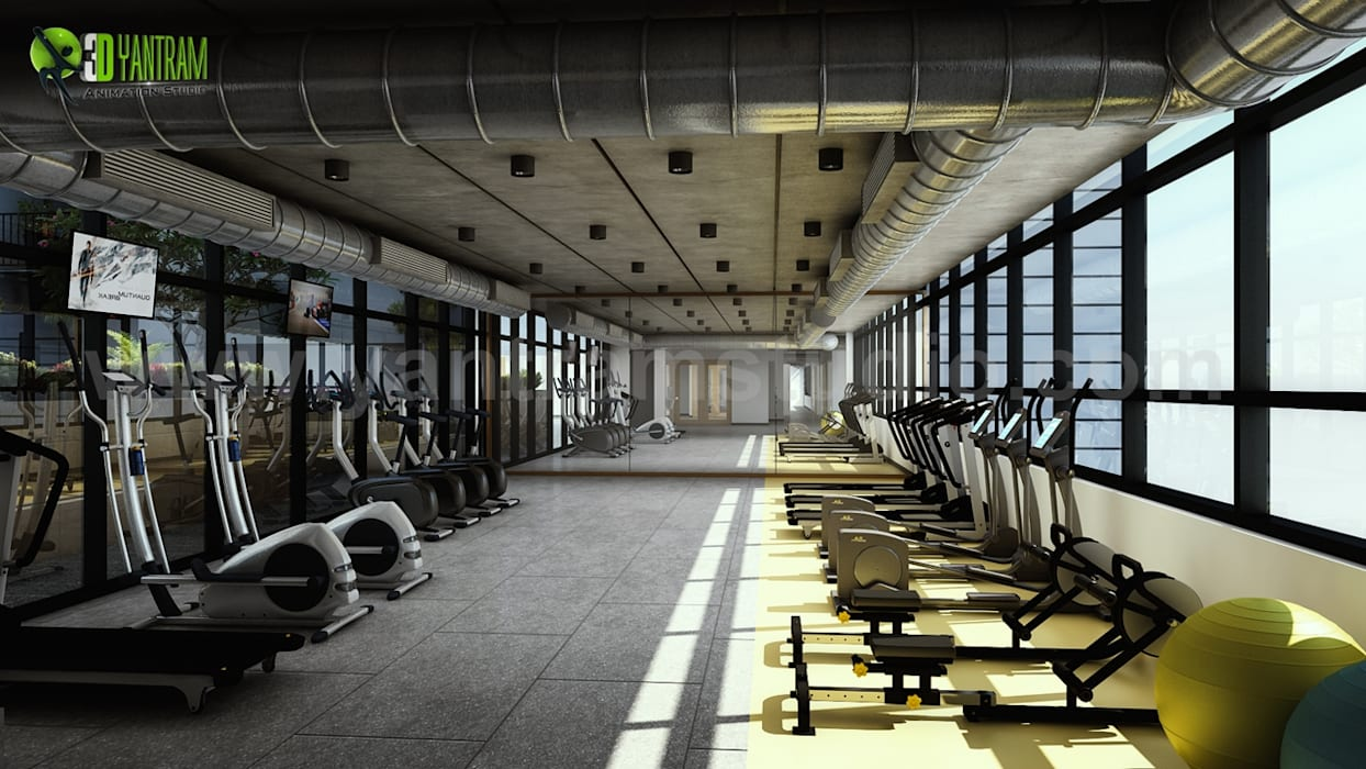 Interior gym design for apartment by yantram 3d ...