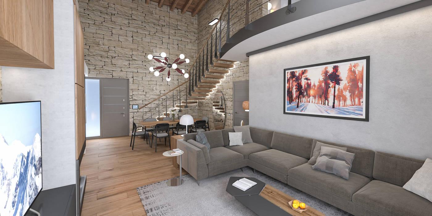Progetto villa smart: soggiorno in stile di studiosagitair ...