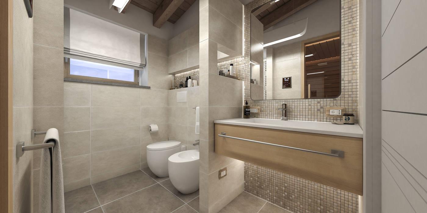 Progetto villa smart: Bagno in stile  di studiosagitair