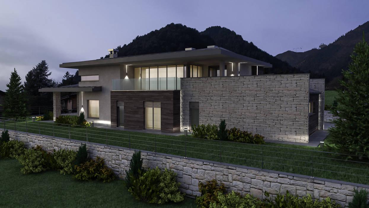 Progetto Villa a Rovetta Case moderne di studiosagitair Moderno