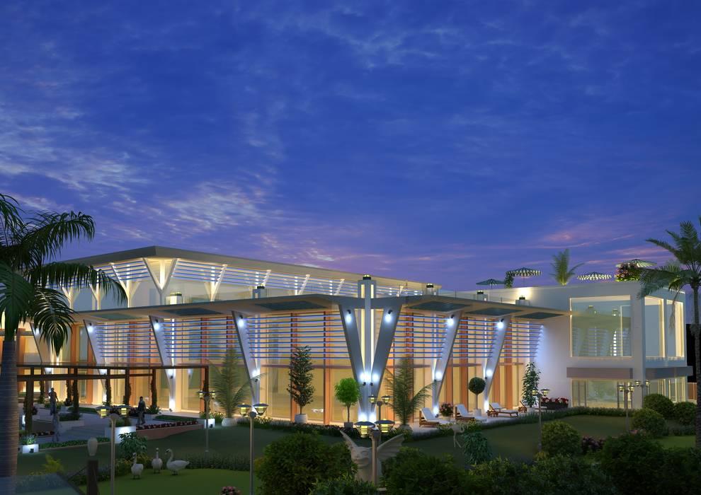 NEONZ CLUB MAIN BUILDING Mediterranean style hotels by Hardik Soni Architects Mediterranean