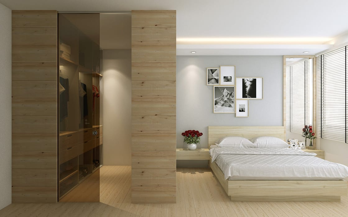 Master bedroom:  Bedroom by Singapore Carpentry Interior Design Pte Ltd,