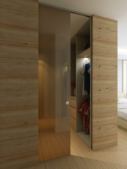 Walk-in wardrobe:  Bedroom by Singapore Carpentry Interior Design Pte Ltd