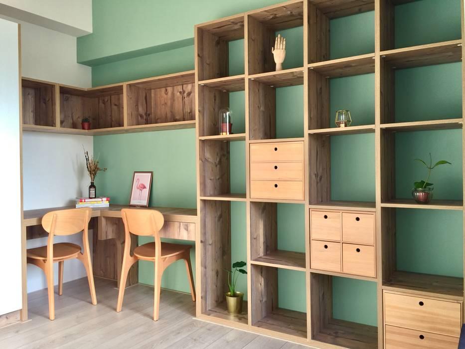 書房中的綠視野 根據 圓方空間設計 北歐風 合板