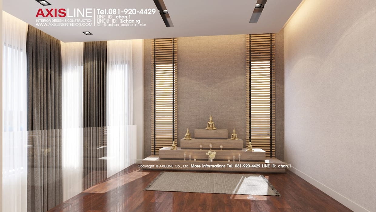 ออกแบบตกแต่งภายในห้องพระ (Buddha room): ทันสมัย  โดย บริษัทแอคซิสลาย จำกัด, โมเดิร์น