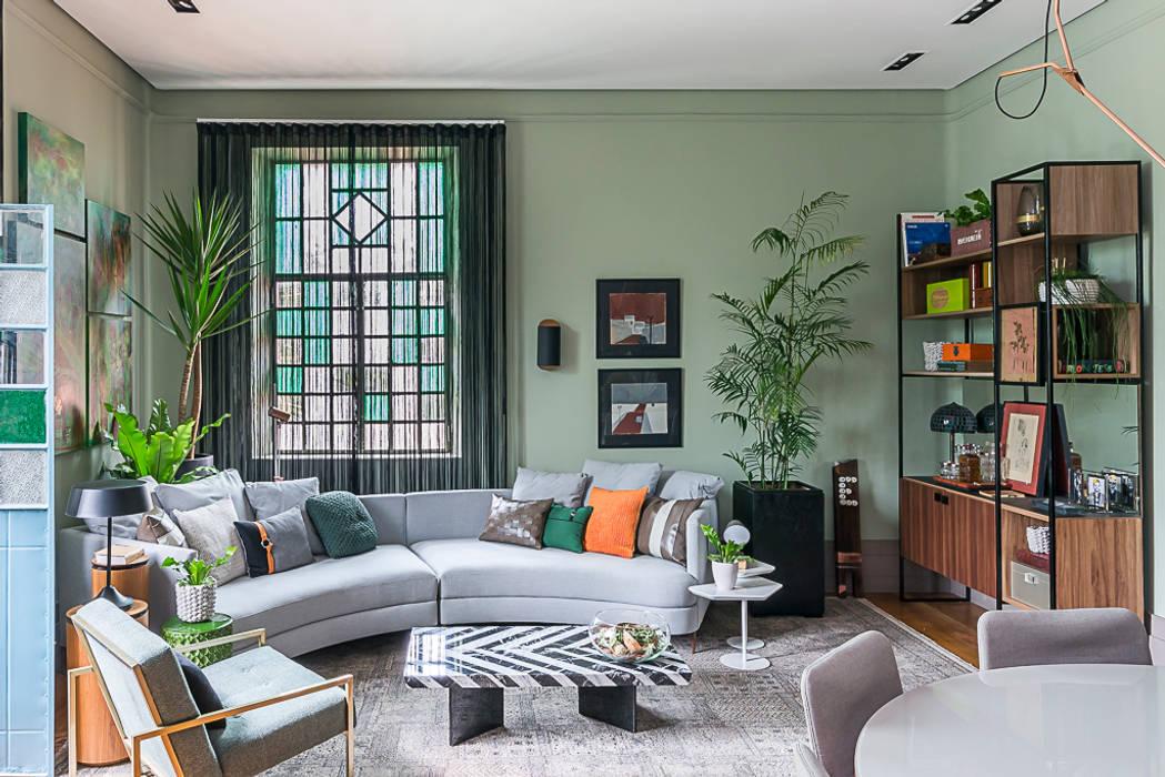 Sala de Estar e Jantar: Salas de estar  por Erlon Tessari Arquitetura e Design de Interiores,