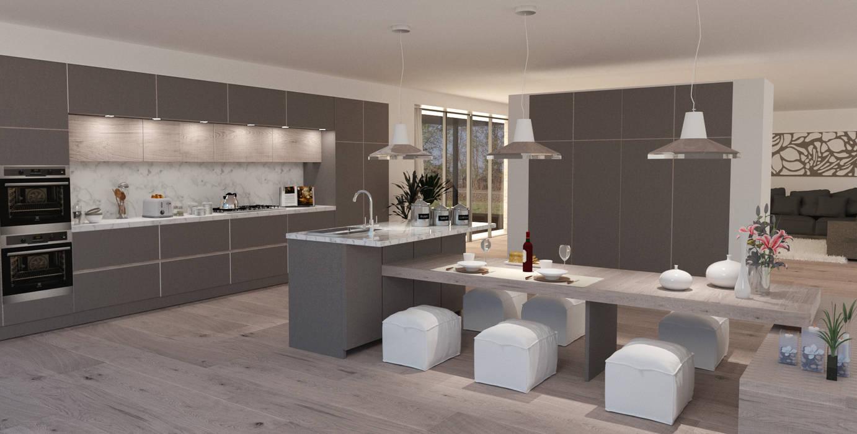 Sgabelli Cucina Design Pelle : Particolare isola con lavello e piano tavolone con sgabelli in