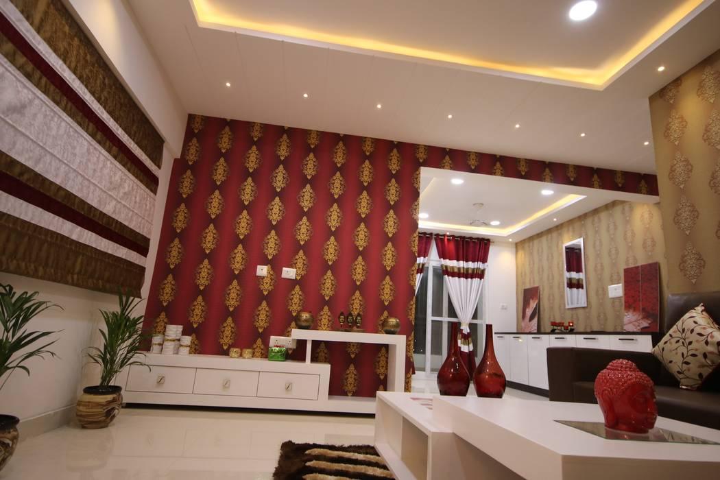 Living Room | TV Unit:  Living room by Enrich Interiors & Decors