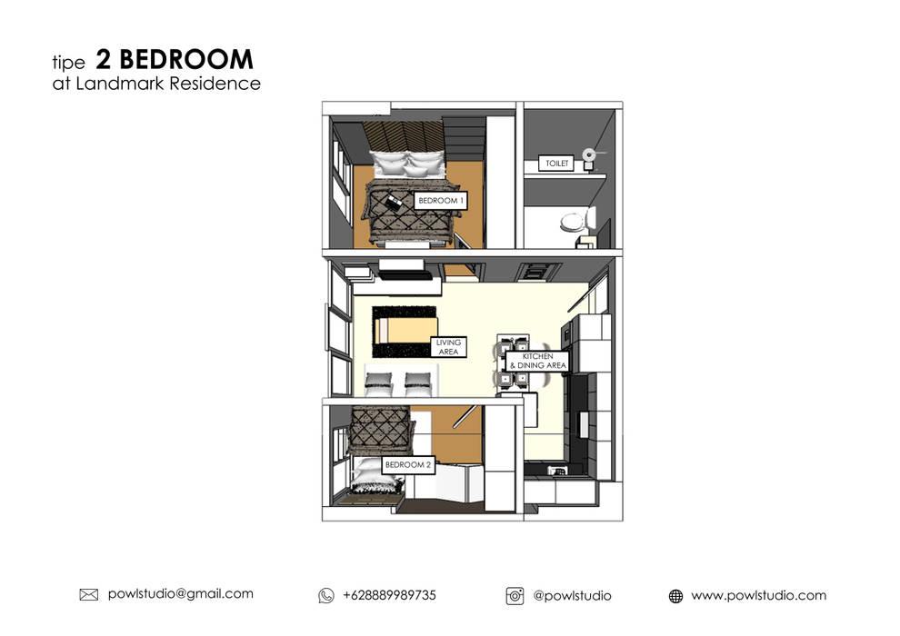 Apartemen Landmark II - Tipe  2 Bedroom (Design I):  oleh POWL Studio,