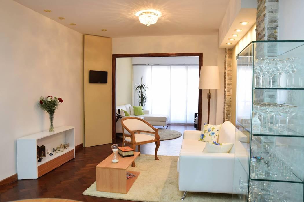 Diseño de living con muebles modernos: Livings de estilo  por Arquimundo 3g - Diseño de Interiores - Ciudad de Buenos Aires
