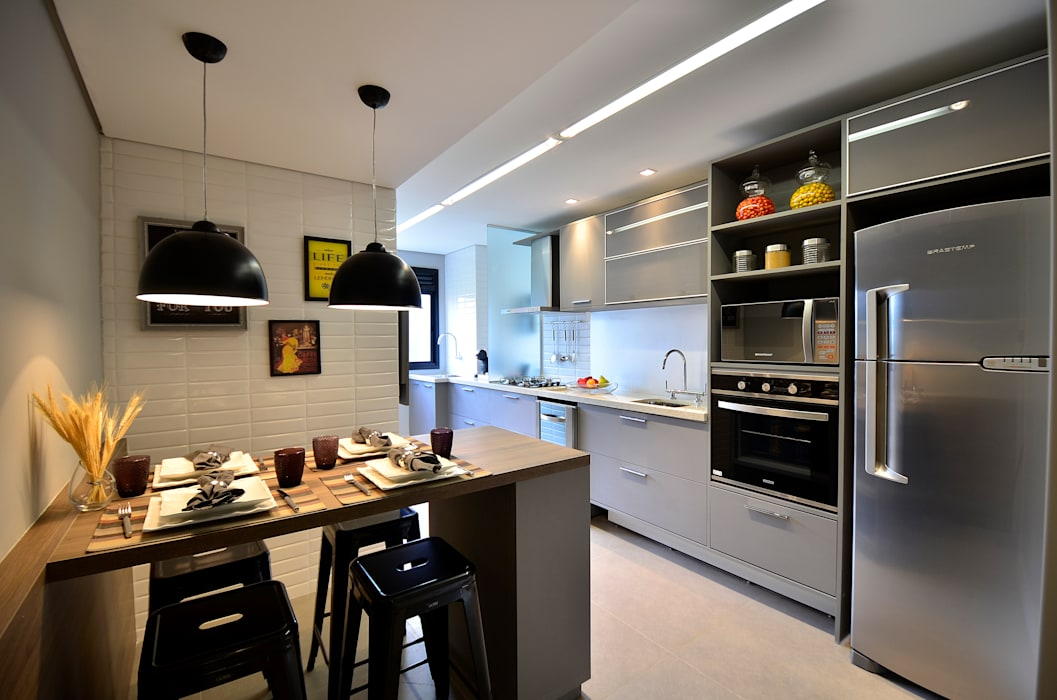 Apartamento Modelo Elegante Cozinhas modernas por BG arquitetura | Projetos Comerciais Moderno