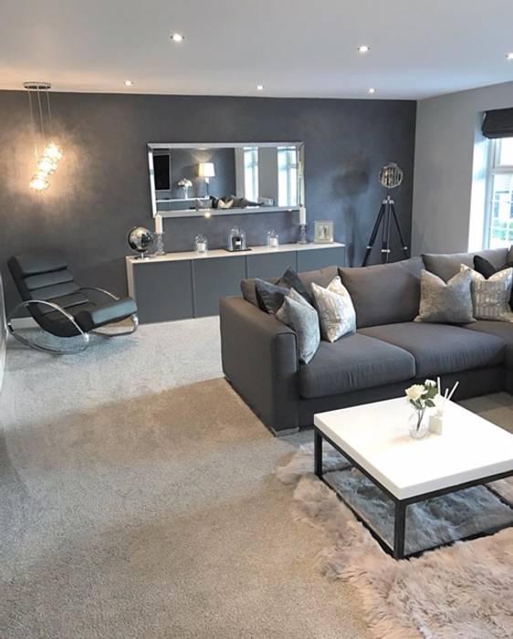 Casa cinza super moderna salas de estar por al interiores for Interiores de salas modernas