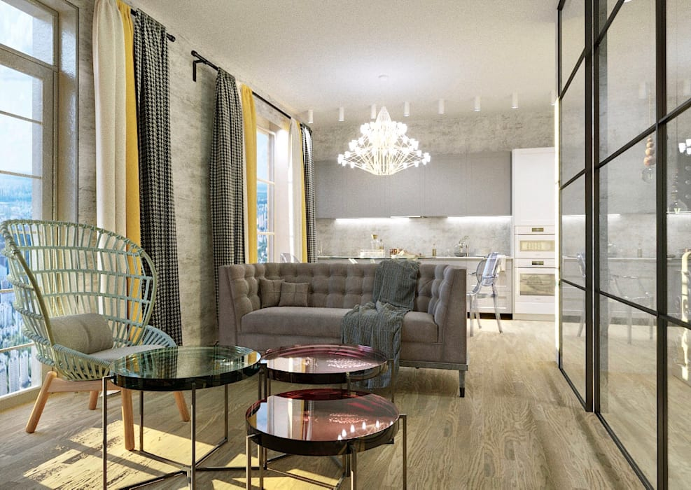 Однокомнатная квартира для молодой девушки: Гостиная в . Автор – AnnaKimdesign