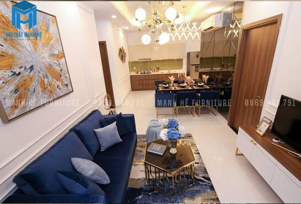 Phòng khách nối liền với phòng bếp:  Phòng khách by Công ty TNHH Nội Thất Mạnh Hệ