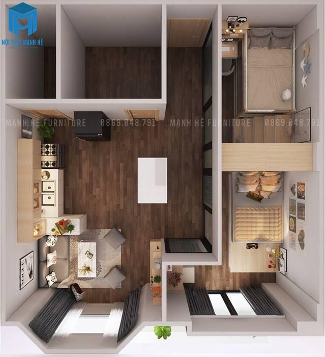Bản vẽ 3D tổng thể căn hộ:  Phòng khách by Công ty TNHH Nội Thất Mạnh Hệ