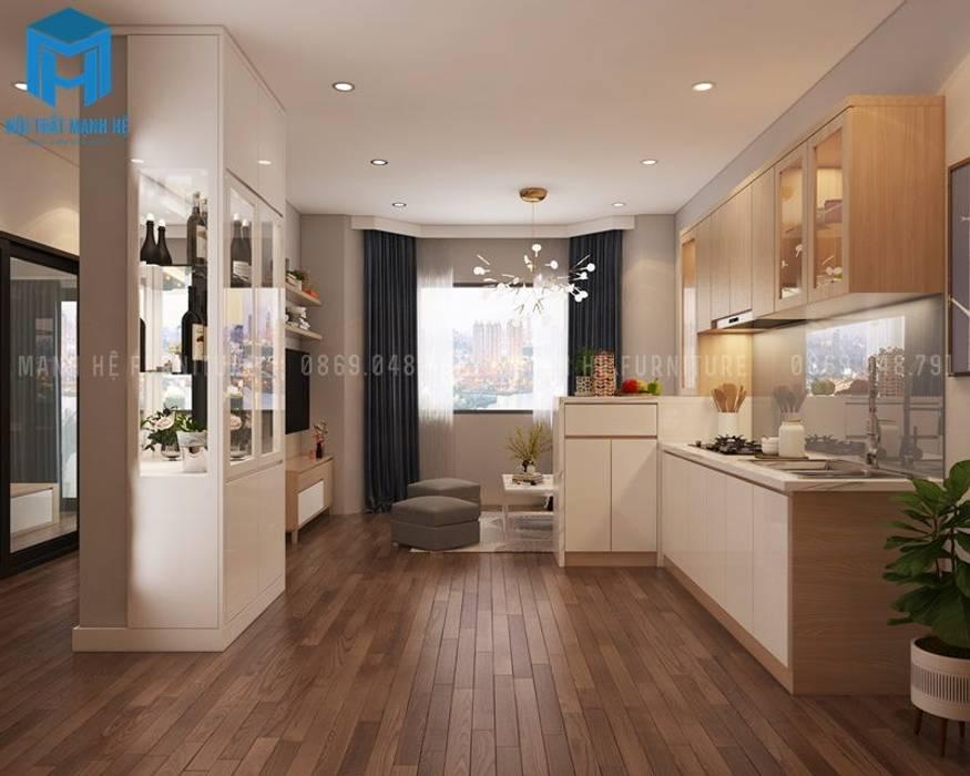 Nội thất của phòng khách và phòng bếp nhìn từ phía ngoài vào :  Phòng khách by Công ty TNHH Nội Thất Mạnh Hệ