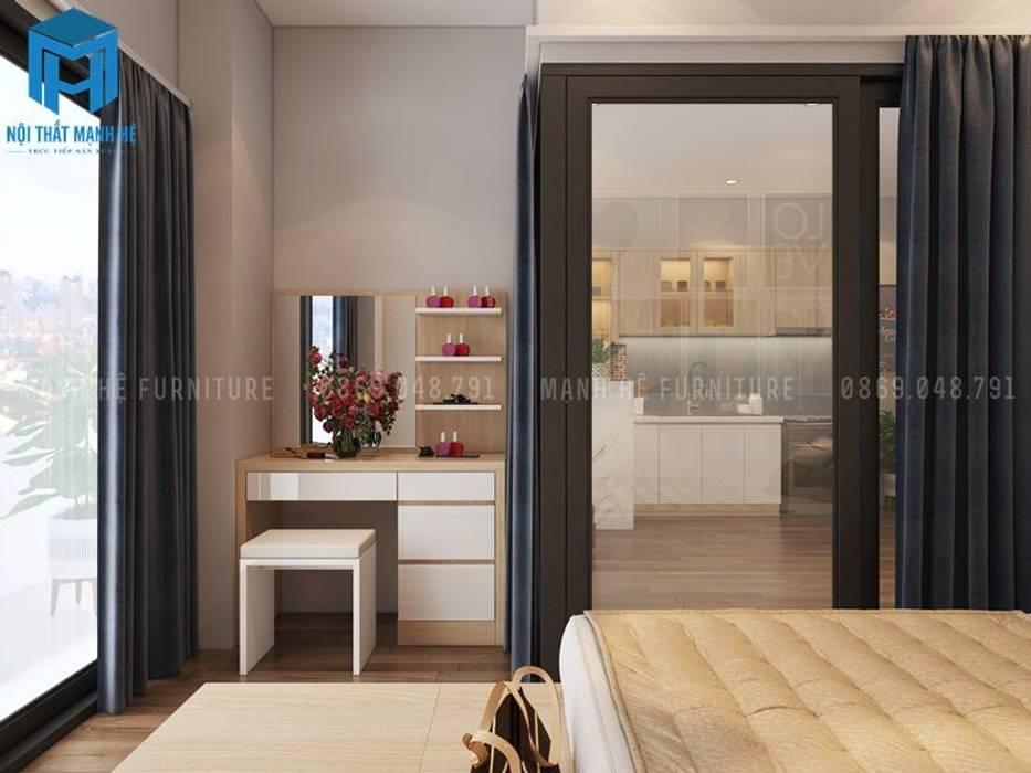 Giường ngủ cùng với bàn trang điểm:  Phòng ngủ by Công ty TNHH Nội Thất Mạnh Hệ