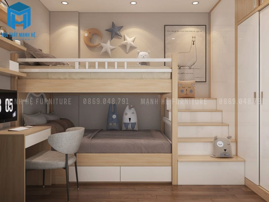 Phòng ngủ nhỏ:  Phòng trẻ em by Công ty TNHH Nội Thất Mạnh Hệ