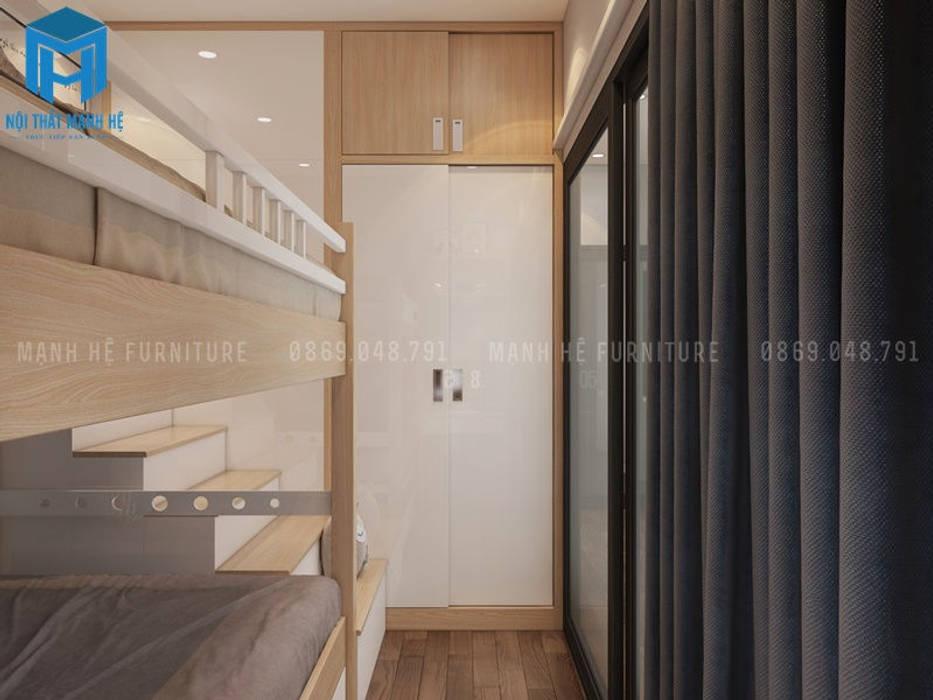 Phòng ngủ nhỏ được bố trí khá gọn gàng với các vật dụng nội thất khá hiện đại:  Phòng trẻ em by Công ty TNHH Nội Thất Mạnh Hệ