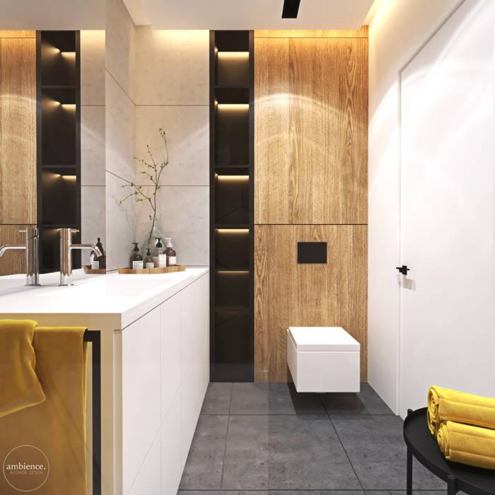 Ciepłe mieszkanie w nowoczesnym stylu Nowoczesna łazienka od Ambience. Interior Design Nowoczesny